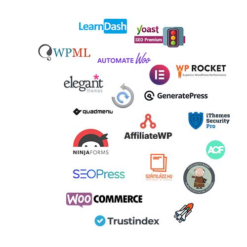 A weboldal készítéshez használt WordPress bővítmények